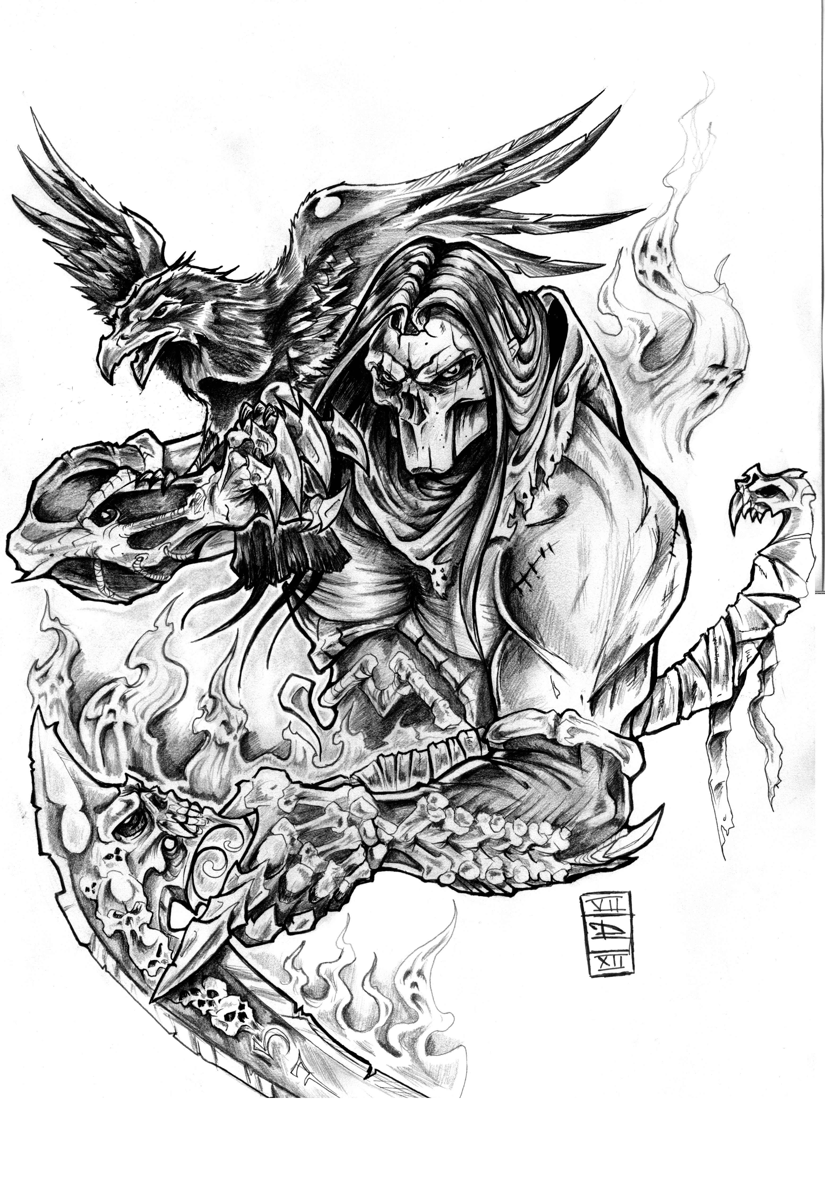 Tattoos for men death my vision of death from darksiders  video game by daxotattoos