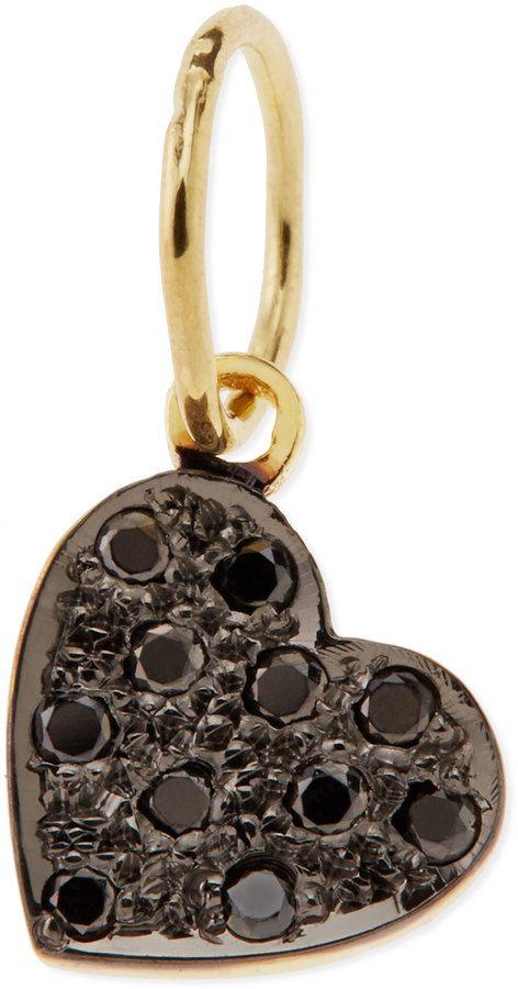Kacey K Mini Black Diamond Heart Charm