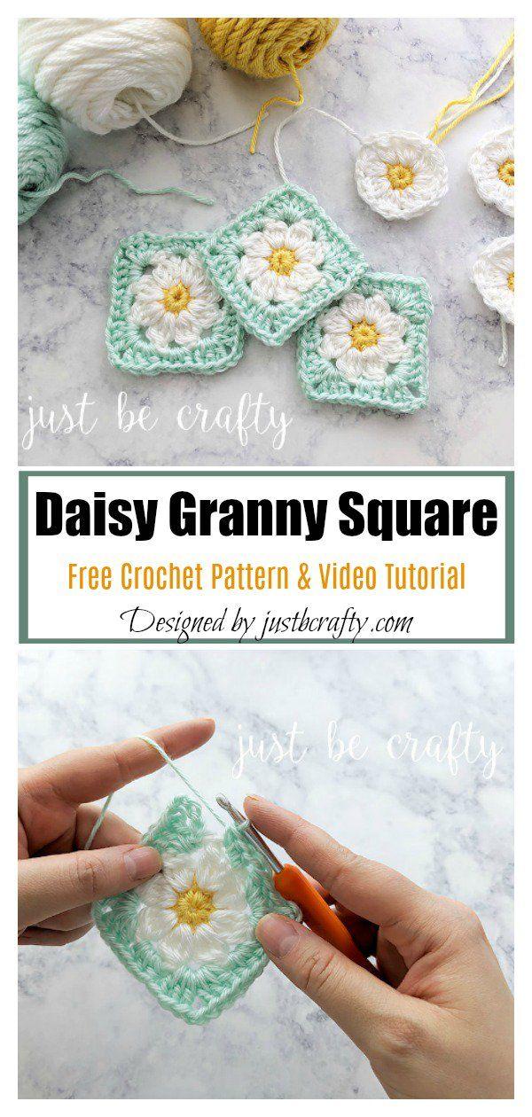 Daisy Granny Square Motif Free Crochet Pattern and Video Tutorial #grannysquares