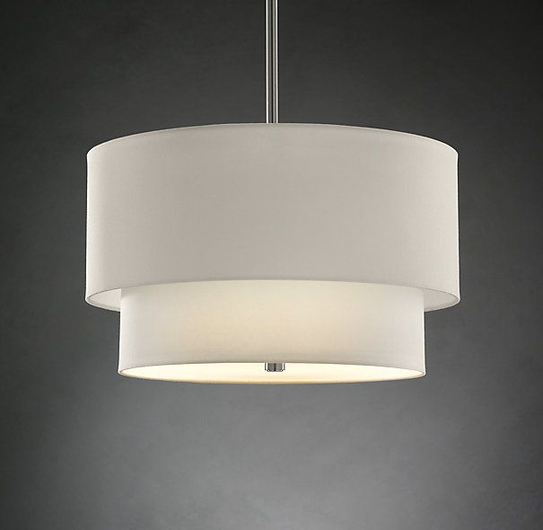 2 Tier Round Linen Shade Pendant Masculine Guest Room
