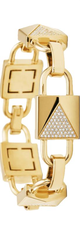 Michael Kors 14k Gold Plated Sterling Silver Pave Mercer Link Bracelet Michael Kors Fall Michael Kors Collection Link Bracelets
