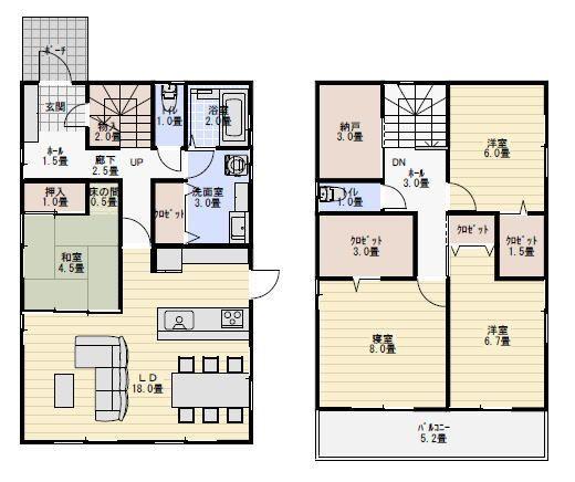 37坪4ldk和室がリビングに接する間取り 間取り 玄関 間取り 北玄関