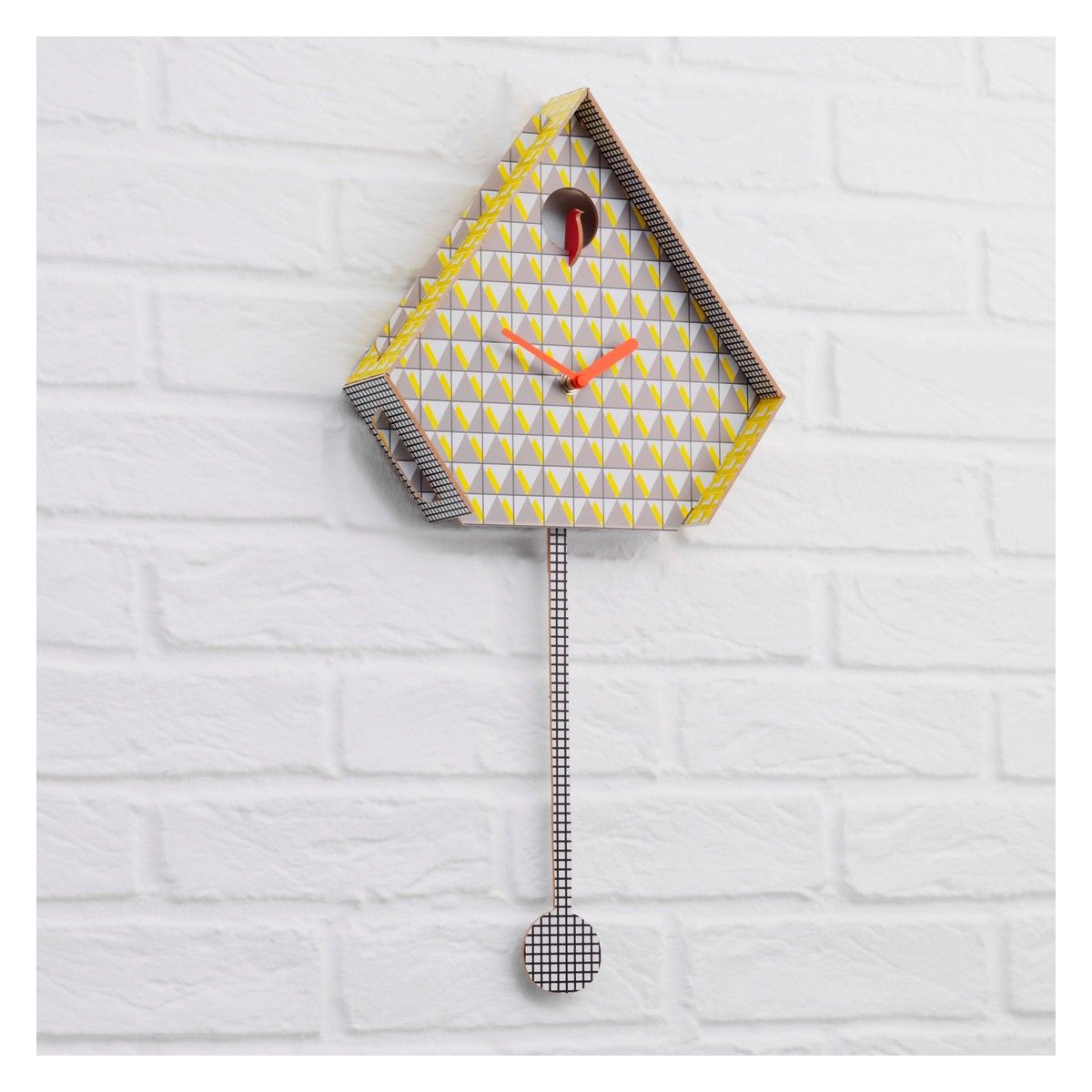Yellow wall clock uk interior design miu yellow patterned cuckoo wall clock wall clocks clocks and walls amipublicfo Image collections