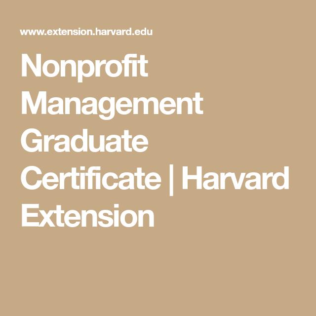 Nonprofit Management Graduate Certificate | Harvard Extension ...