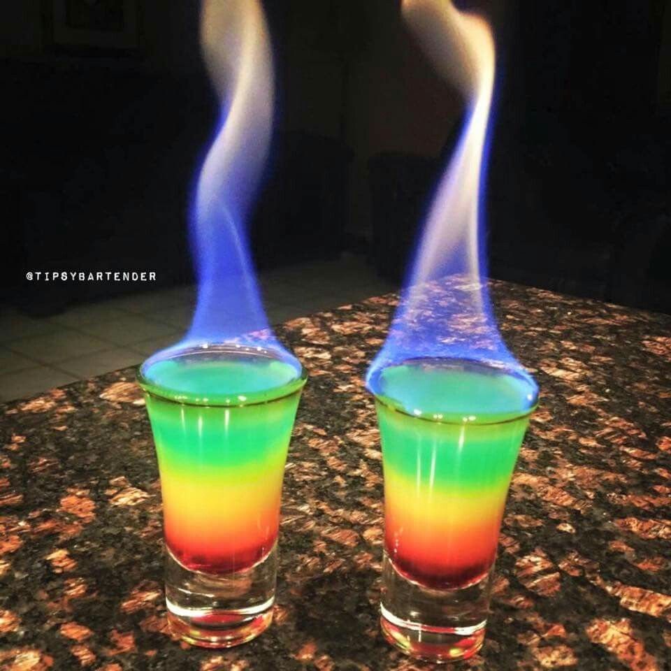 Flaming rainbows watch us make rainbow shots https for Best soda with rum