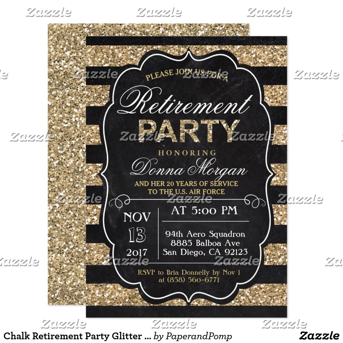 Chalk Retirement Party Glitter Invitation   Retirement parties and ...