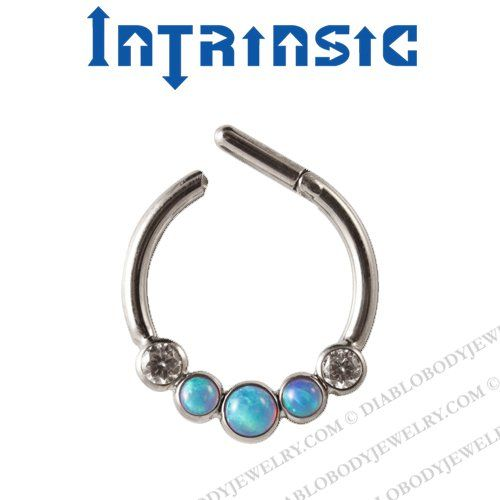 Intrinsic Body Titanium 5 Gem Septum Clicker Nose Ring 18 Gauge 16 Gauge 14 Gauge 18g 16g 14g