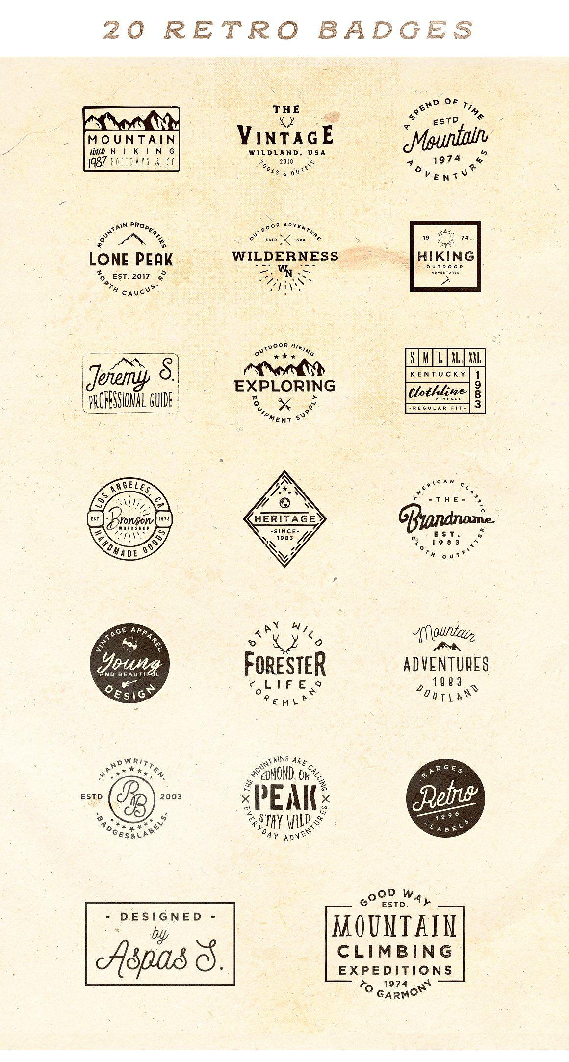 Vol 2 20 Minimal Retro Badges Vintage Logo Design Retro Logo Design Retro Text