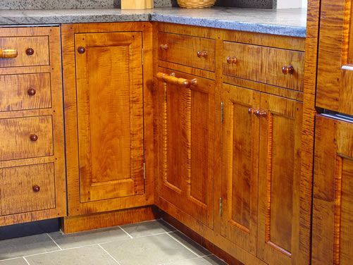 tiger maple cabinetry with soapstone unoiled