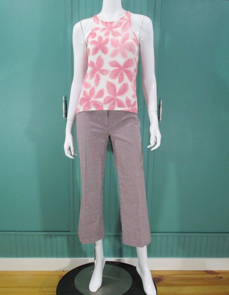 af43ed35c00c7 Nanette Lepore Pant Striped Cropped Red Pants Check Mate  NanetteLepore   CaprisCropped. Ann Taylor Sleeveless Cold Shoulder Knit Top White Pink  Sparkly ...