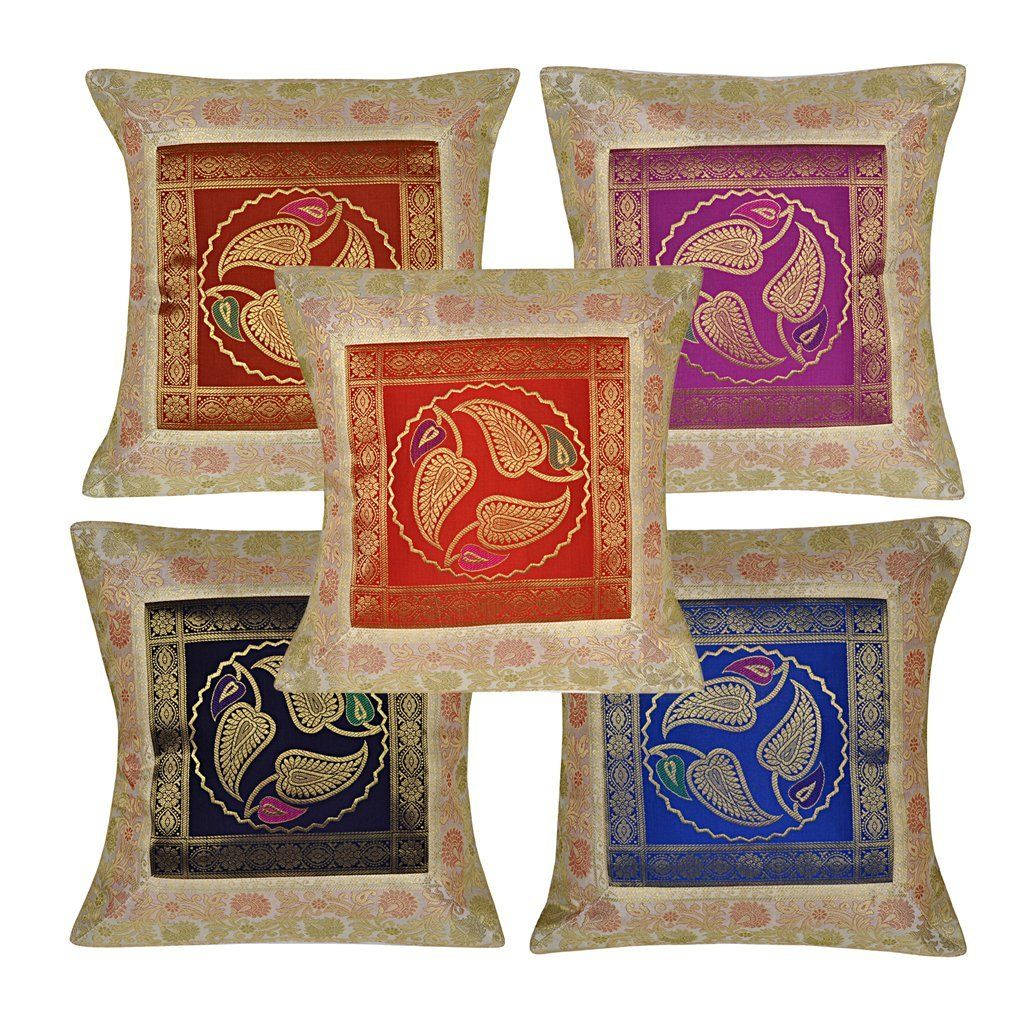Ethnic Designer Brocade Silk Cushion Cover Housewarming Gifts 16 X 16  Inches Set Of 5 Pcs