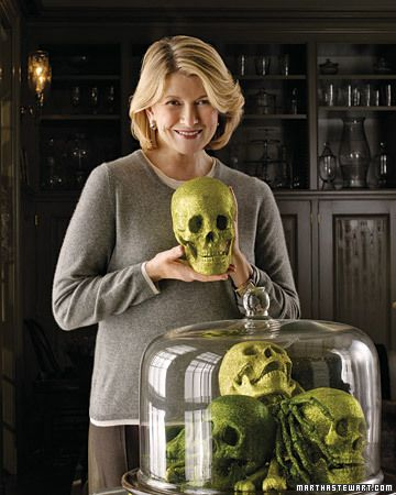 I love pictures like this of Martha Stewart, of her being so morbidly glamorous with a glittering skull