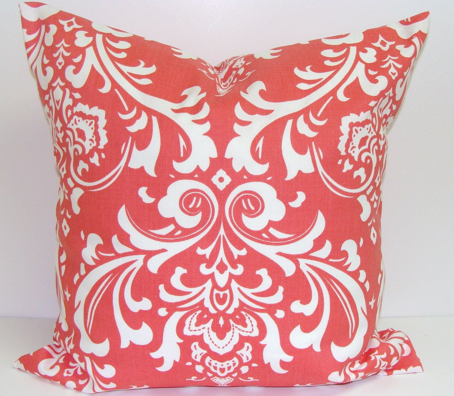 Best Coral Damask Pillow 16X16 Inch Decorator Pillow By 640 x 480