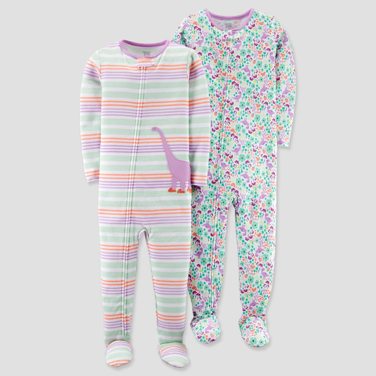 955cf3f97e86 Baby Girls  2pk Cotton Dino Stripe Footed Pajama Set - Just One You ...