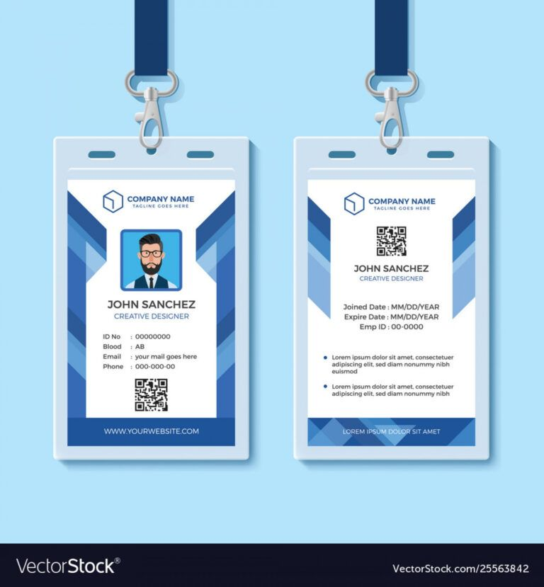 042 Template Ideas Employee Id Card Templates Blue Design With Regard To Id Card Template For Microsoft Word Employee Id Card Employees Card Id Card Template
