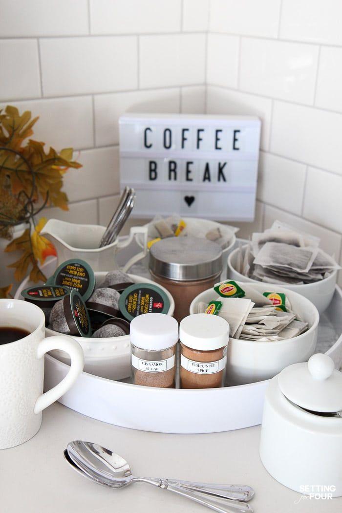 An Elegant Kitchen Coffee Bar Idea For Fall Coffee Bars In Kitchen Diy Coffee Bar Kitchen Redecorating