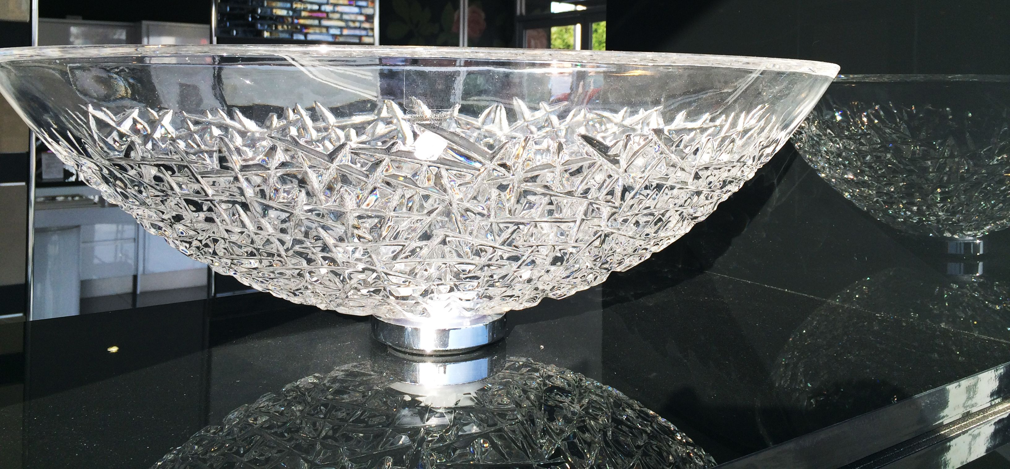 The stunning Ice Oval Crystal Wash Basin is on display in ...