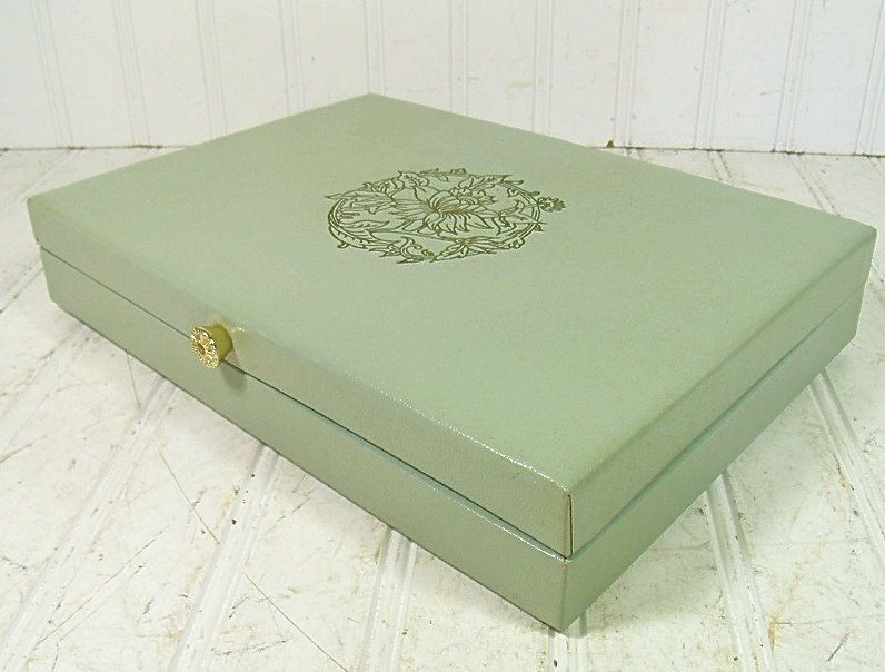 Vintage Soft Sage Green Jewelry Box with Gold Trim Retro Lady