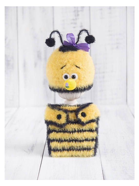 Bumble bee animal set Newborn crochet bee hat and diaper cover ...