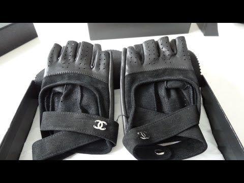 [VENDIDO] Chanel luvas sem dedos luvas Motorista Cordeiro Couro Tweed! Rare R