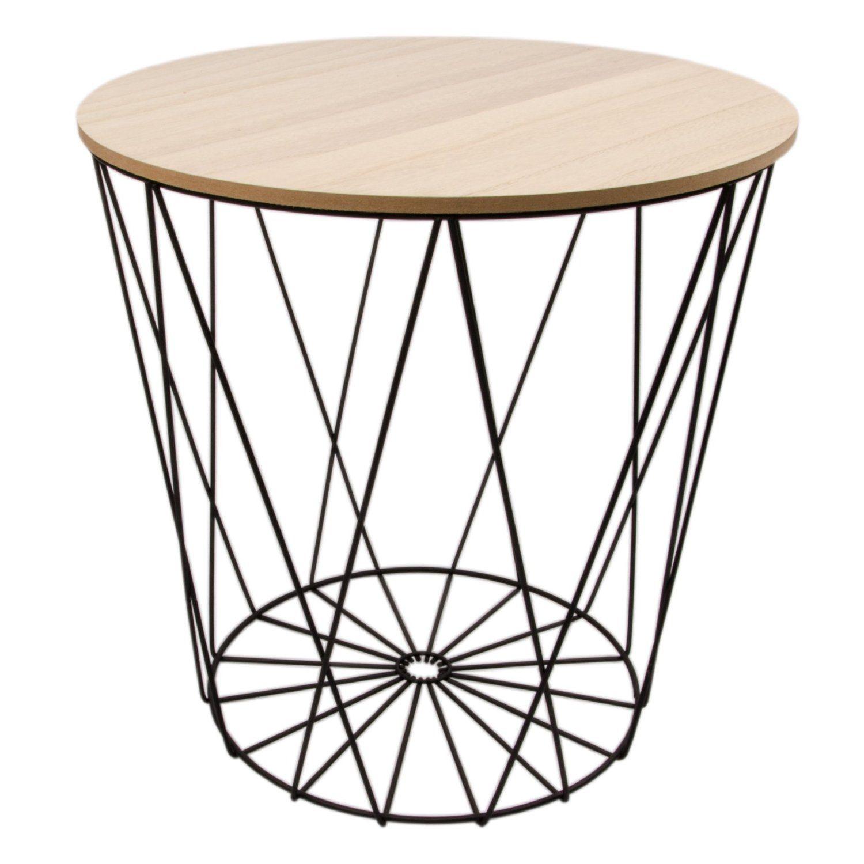 Tisch design beistelltisch drahtkorb metall mit for Tisch design metall