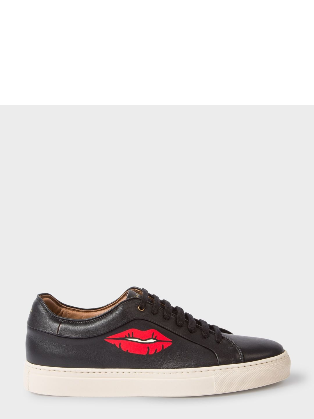 7c020f5310b PAUL SMITH Men's Black Leather 'Basso' Trainers With Lips Print ...
