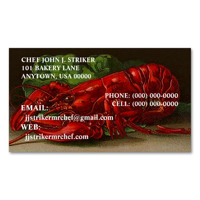 Chef lobster overnight shipping business cards overnight shipping chef lobster overnight shipping business cards reheart Gallery