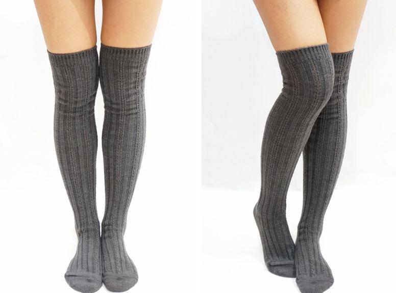 4d0da294da5383 Stripe Knitted Knee High Knee Socks - Dark | Clothing | Striped knit ...