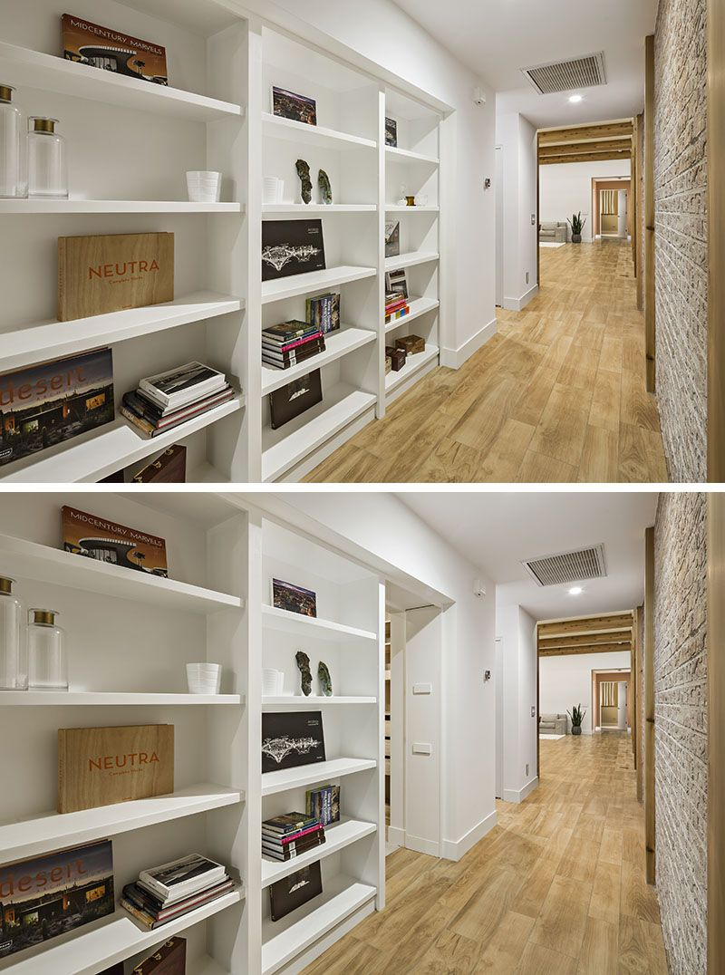 Space saving hallway furniture  Hereus an idea for a secret door hide it within a builtin bookcase