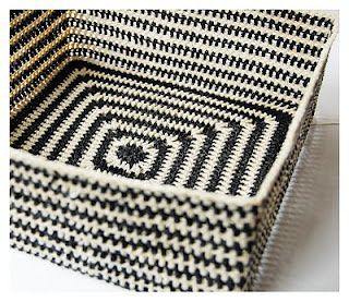 Beautiful black & white crochet basket