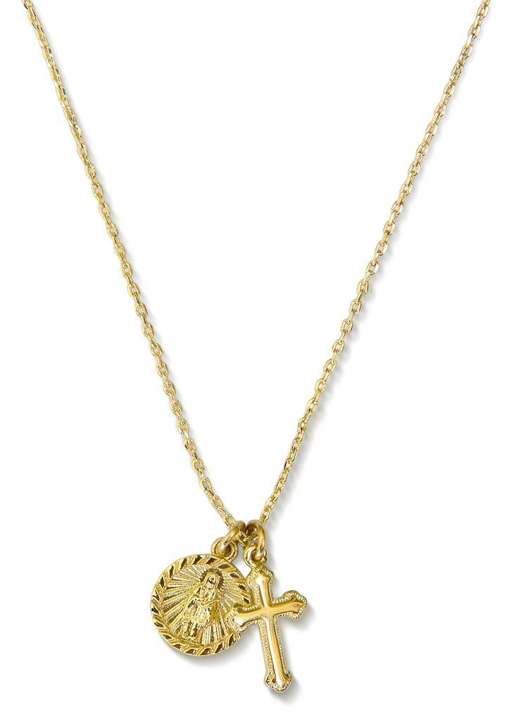 2c93f3045 14K Gold Necklace with Saint Genevieve and Cross Pendants as reminders of  Love and Sacrifice. Part of our Fighting Poverty Collection.