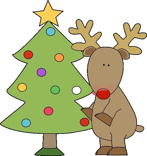 Christmas Tree And Reindeer Clip Art Christmas Tree Images Christmas Reading Clip Art