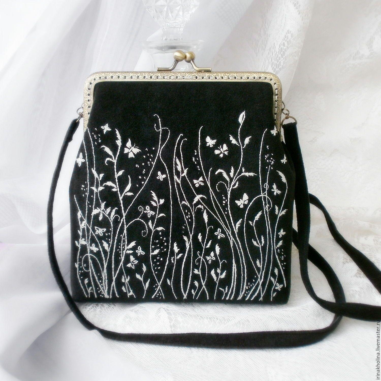 b3f102253a28 Купить Сумочка из ткани с фермуаром, ручная вышивка Монохром - сумочка,  сумка, сумка ручной работы