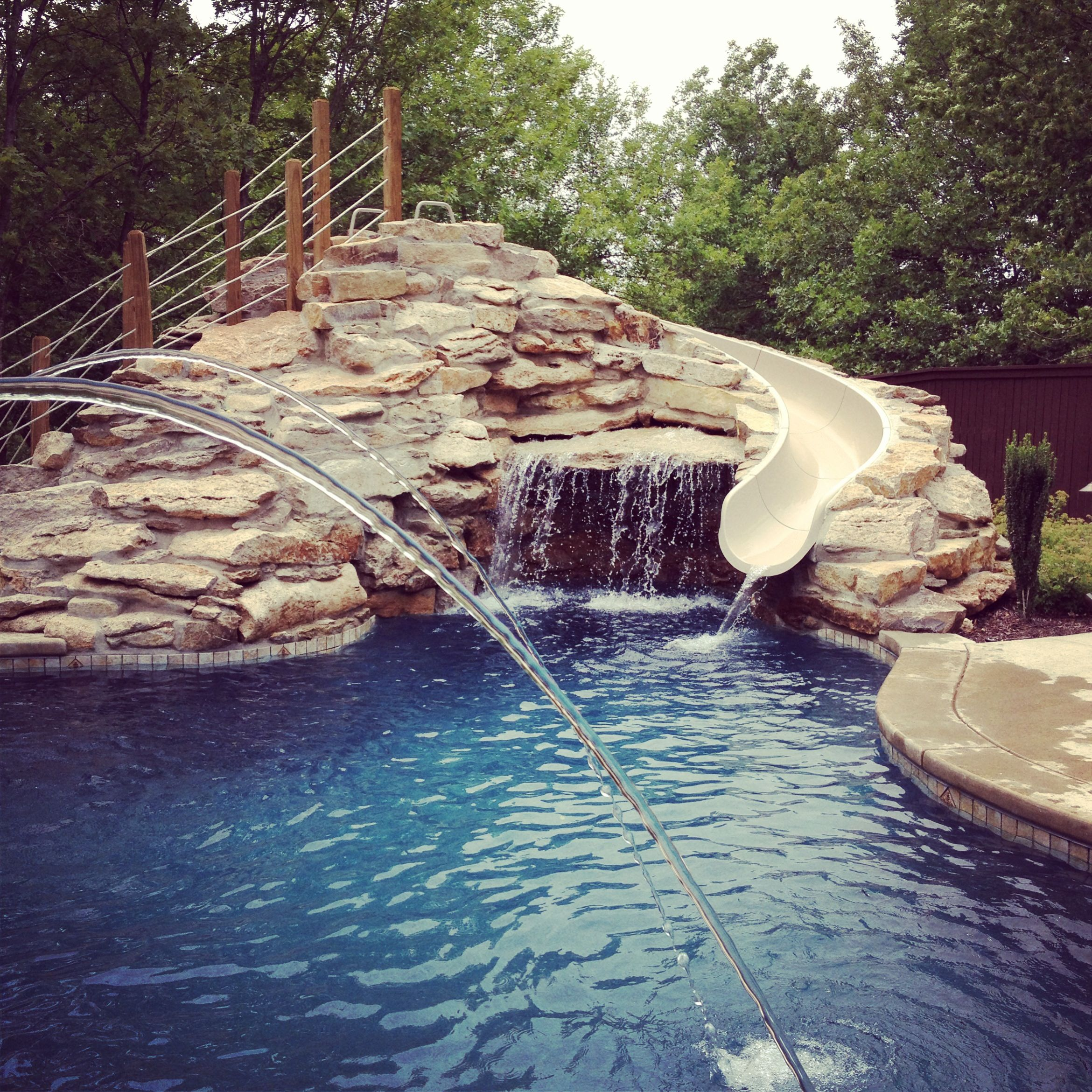 Luxury House Pool With Waterfall And Slides: Swimming Pools/Hot Tubs/Water Falls
