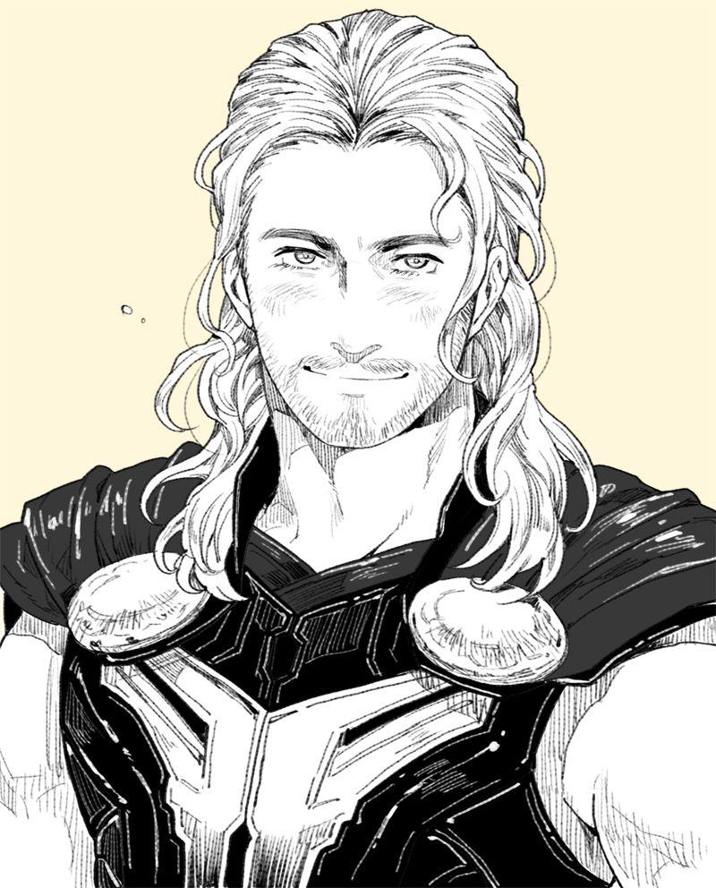 Thor black white fanart thor thor thor drawing loki art