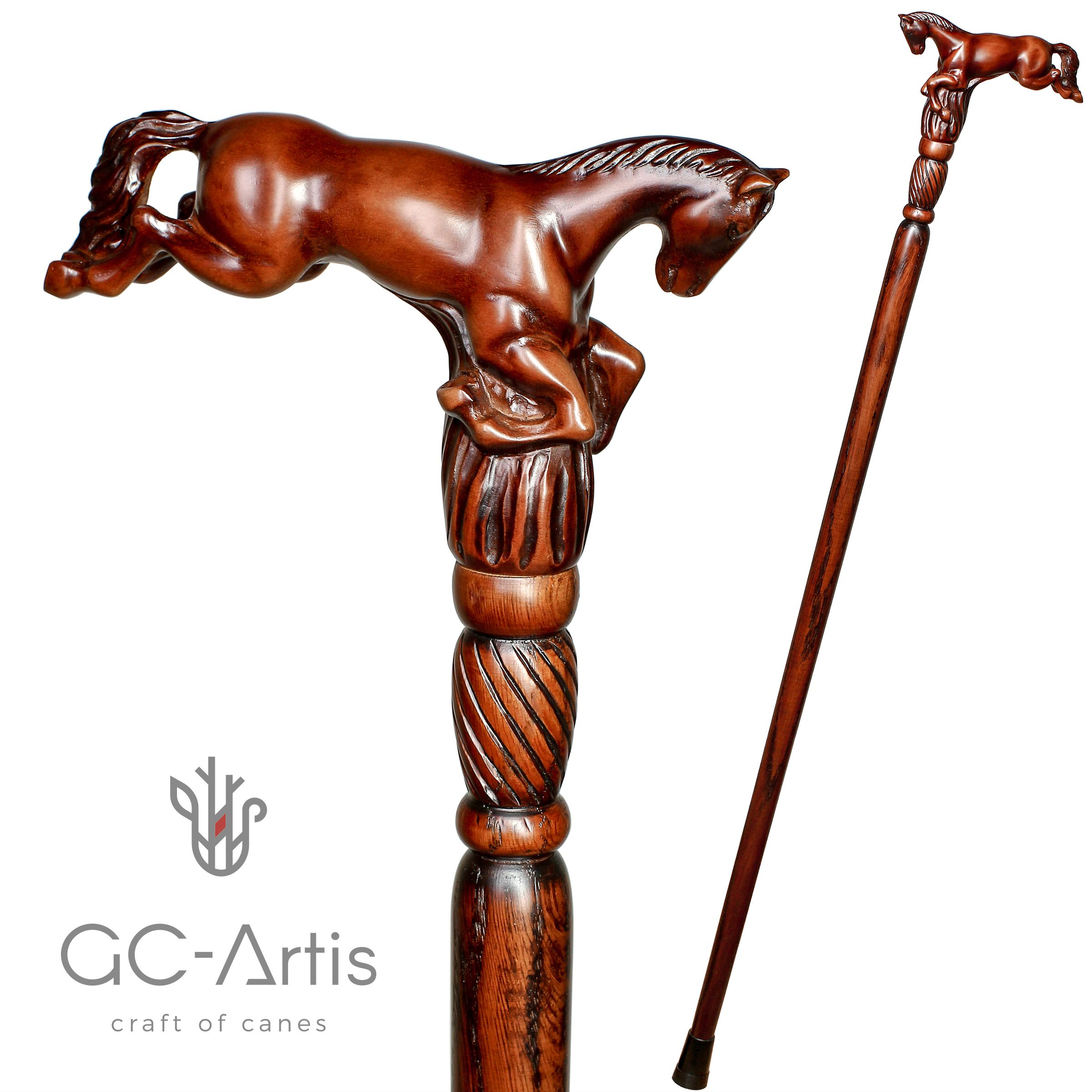Cane Horse Walking stick handmade Wood Carving Strong Stick Exquisite design