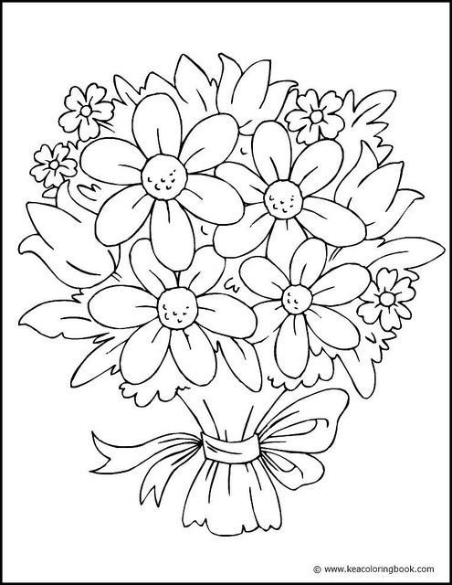 Bouquet Of Flowers Coloring Page Flower Coloring Sheets