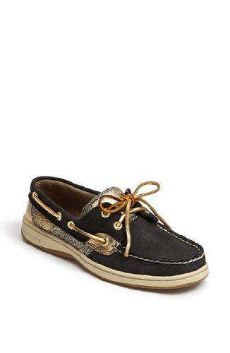 Awesomenice Sperry Women'S Bluefish Shoes Black Gold. Omg I black leather sperrys Shoes