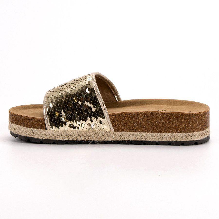 Kylie Zlote Klapki Z Cekinami Zloty Shoes Espadrilles Fashion