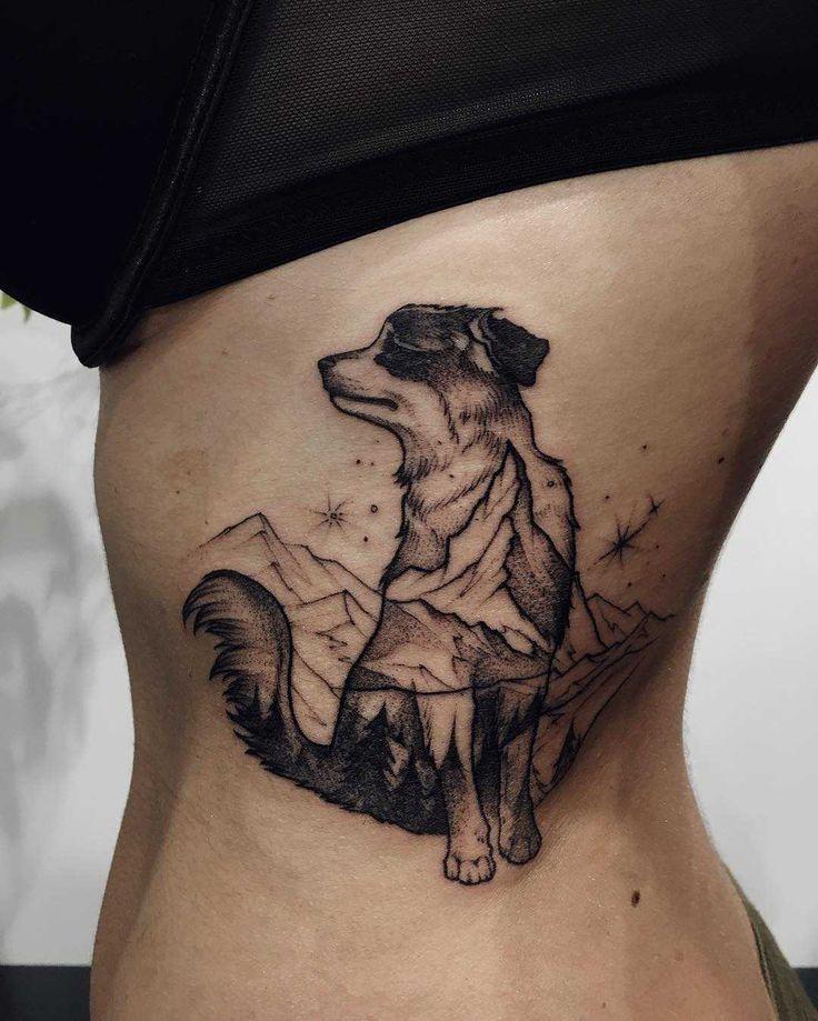 Photo of Doppelbelichtung Hund und Berge Tattoo auf der linken Brustkorb von Sasha Tat eingefärbt …