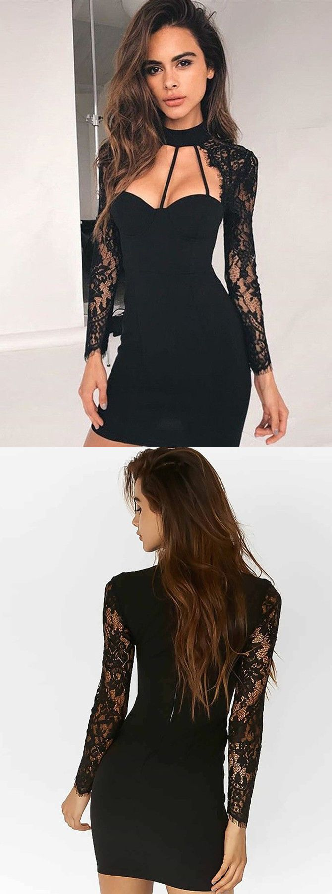 black short homecoming dresseslong sleeve lace prom dresssexy