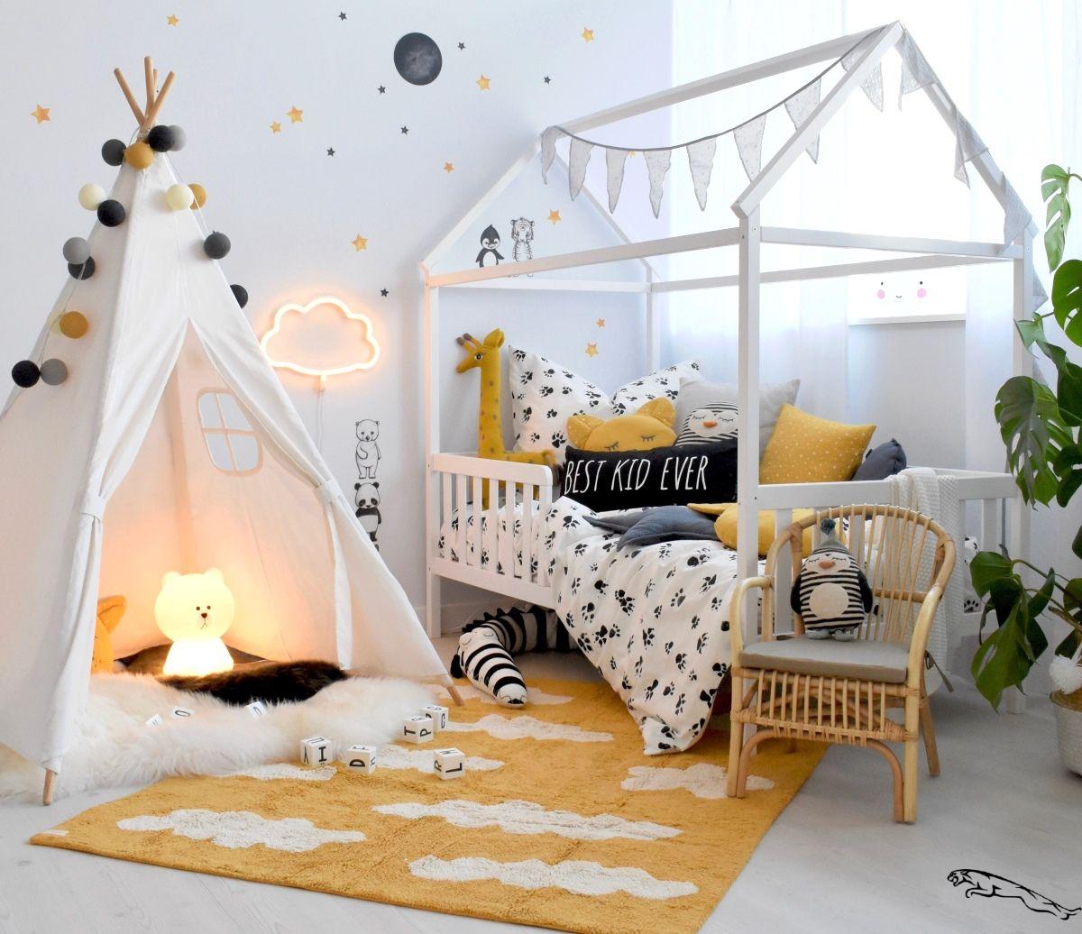 Modernes Kinderzimmer mit Hausbett bei Fantasyroom online