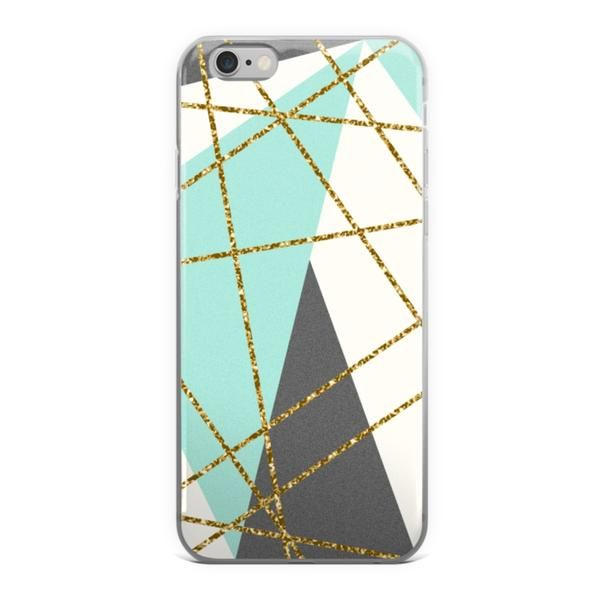 Abstract Geometric Mint Gold Glitter iPhone Case