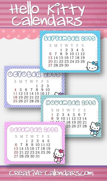 Free Printable Calendars With Hello Kitty For 2017 Instant