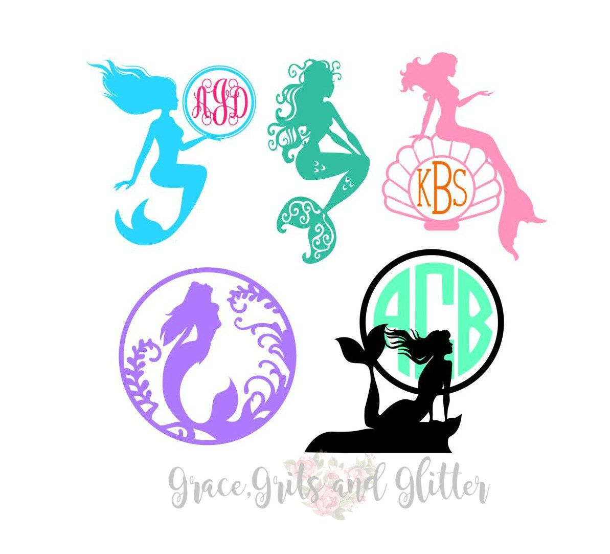 Mermaid Monograms Monograms Mermaid Mermaid Lagoon Lets - Mermaid custom vinyl decals for car