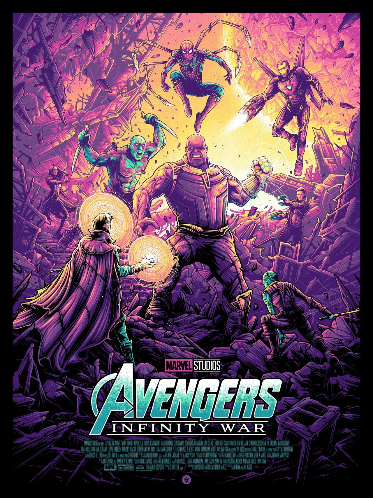 "Avengers Infinity War Regular Screen Print Poster By Dan Mumford 18""x24"" Marvel"