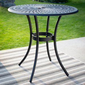 international caravan mandalay bar height iron patio table crafted