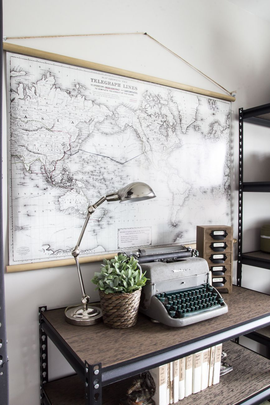 DIY Vintage Pull Down Map | blesserhouse.com - Great cheap alternative to  the real