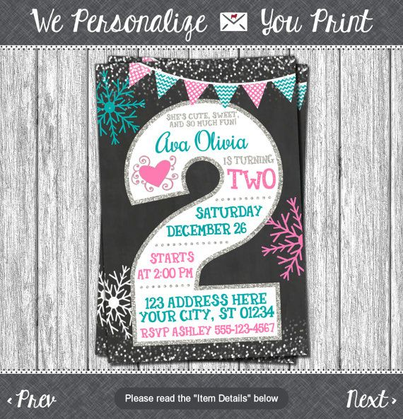 Winter birthday invitation winter 2nd birthday invitations winter birthday invitation winter 2nd birthday invitations snowflake chalkboard second birthday invitation filmwisefo