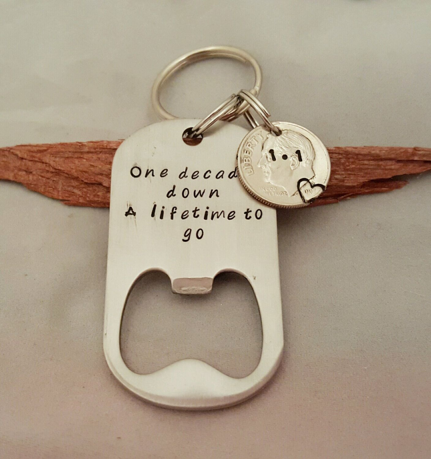 One Decade Down A Lifetime To Go Keychain, 10 Year
